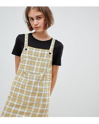 e070b3a70348 Monki - Check Mini Dungarees Dress In Yellow - Lyst