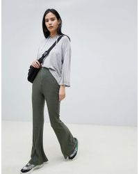 ASOS - 70s Rib Flare With Zip And Ring Pull - Lyst