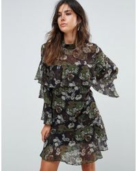 Liquorish - Floral Print Tiered Dress - Lyst