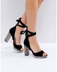 f2da97da2466 Truffle Collection - Tie Up Slim Platform Sandal - Lyst