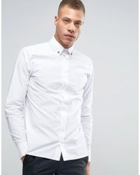 Rogues Of London - Shirt With Skull Collar Tips In Slim Fit - Lyst