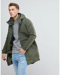 Jack & Jones - Originals Light Weight Parka With Camo Lining - Lyst