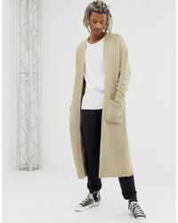 ASOS - Knitted Long Line Cardigan In Oatmeal Twist - Lyst
