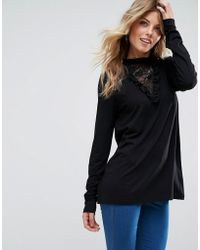 ASOS - Asos Top With Lace Insert - Lyst