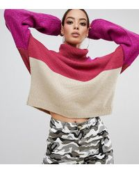 PrettyLittleThing - Colour Block Roll Neck Jumper In Multi - Lyst