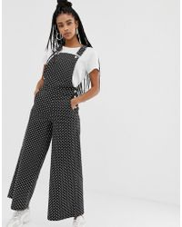 Daisy Street Relaxed Dungarees In Polka Dot