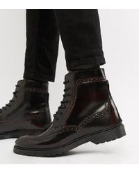 ASOS - Wide Fit Lace Up Brogue Boots In Burgundy Leather With Ribbed Sole - Lyst