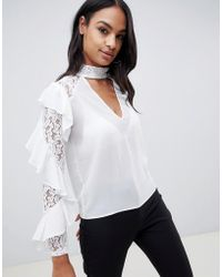 TFNC London - Lace Ruffle Sleeve Top With Cut Out Detail - Lyst