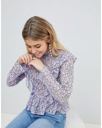 PrettyLittleThing - Lace Frill Detail Top - Lyst
