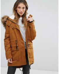 Bellfield - Fontone Cotton Twill Parka With Faux Fur Trim - Lyst