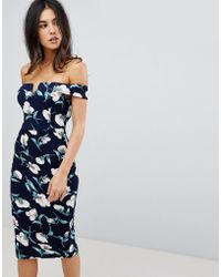 AX Paris - V Neck Bardot Pencil Dress In Tulip Print - Lyst