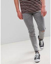D-Struct - Skinny Frayed Hem Knee Rip Jeans - Lyst