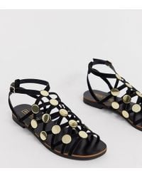 f7e303a17 River Island - Caged Flat Sandal With Studs In Black - Lyst