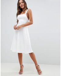 f76ea47bfdf19b Lyst - ASOS Pearl Embellished Crop Top Midi Skater Dress in White