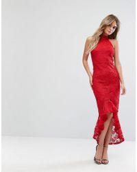Missguided - Lace Halterneck Fishtail Midi Dress - Lyst