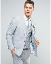 ASOS - Wedding Skinny Suit Jacket In Crosshatch Nep With Floral Print Lining - Lyst