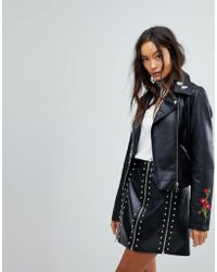 Vila - Embroidered Faux Leather Biker Jacket - Lyst