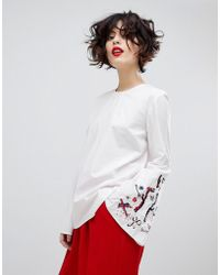 Essentiel Antwerp - Paradise Long Sleeved Embroidered Blouse - Lyst
