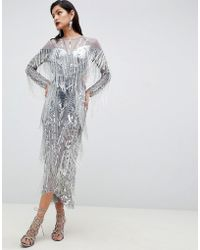 ASOS - Sequin & Fringe Cut Out Midi Dress - Lyst