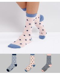 Original Penguin - 3 Pack Striped Ankle Socks - Lyst