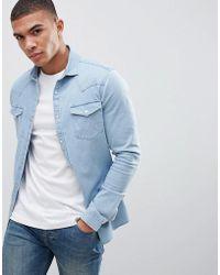 ASOS - Design Skinny Denim Western Shirt In Bleach Wash - Lyst