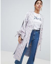 Lost Ink - Kimono Jacket With Split Sleeves In Jacquard - Lyst