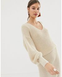 ASOS Co-ord V Neck Sweater With Volume Sleeve - Natural