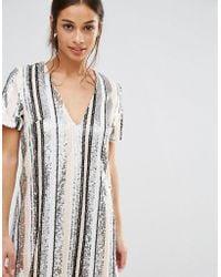 Missguided - Sequin Stripe Mini Dress - Lyst