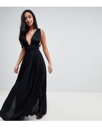 ASOS - Asos Design Petite Grecian Plunge Maxi Woven Beach Dress - Lyst