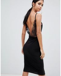 Missguided - Lace Open Back Midi Dress In Black - Lyst