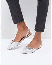 Dune - Flat Pointed Shoe In Silver With Embellishment - Lyst