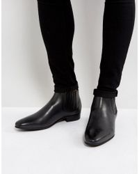 H by Hudson - Zelus Leather Chelsea Boots In Black - Lyst