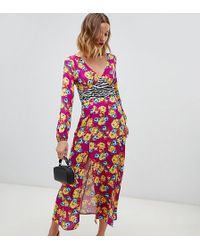 Reclaimed (vintage) Midaxi-Kleid mit Blumenmuster - Braun