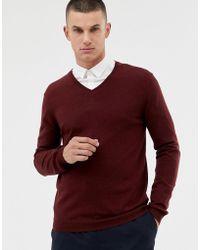 ASOS - Merino Wool V-neck Jumper In Burgundy - Lyst