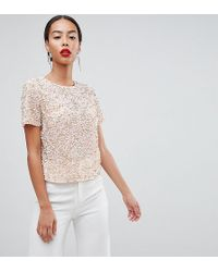 ASOS - Asos Design Tall T-shirt With Sequin Embellishment - Lyst
