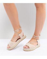 ASOS - Jump On Wide Fit Tie Leg Espadrille Sandals - Lyst