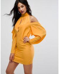 AQ/AQ - Mini Dress With Cold Shoulder Ruched Detail - Lyst