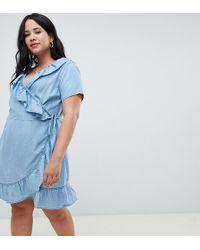 9d6d3b426c53 ASOS - Asos Design Curve Denim Wrap Dress With Frill Detail In Midwash Blue  - Lyst