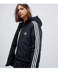 adidas Originals - Three Stripe Reversible Coat In Black - Lyst