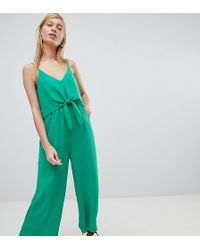 0055a9f98c New Look - Tie Front Wide Leg Jumpsuit - Lyst