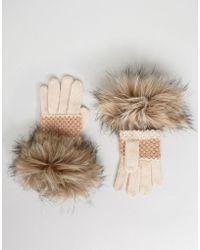 Alice Hannah - Moss Stitch Faux Fur Gloves - Lyst