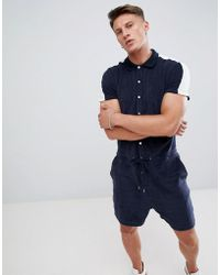 ASOS - Towelling Short Jumpsuit With Side Stripe In Navy - Lyst