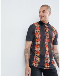 ASOS DESIGN - Relaxed Polo In Linen Look With All Over Floral Print - Lyst