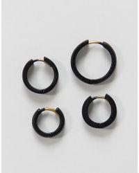 ASOS - Design Hinge Hoop Earring Pack In Matte Black - Lyst