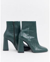 ASOS - Endless Leather Heeled Boots - Lyst