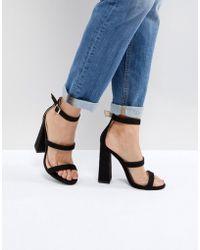 Public Desire - Black Oyster Triple Strap Sandals - Lyst