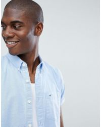 Hollister - Short Sleeve Core Solid Oxford Shirt Slim Fit Button Down In Light Blue - Lyst