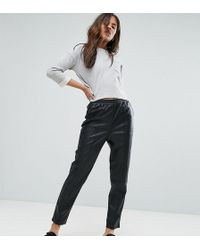 ASOS - Leather Look Tapered Pant With Elasticated Back - Lyst