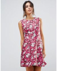 Warehouse - Aster Floral Jacquard Dress - Lyst