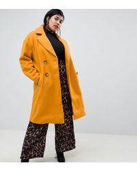 72a1aa3dfbef29 River Island - Double Breasted Tailored Longline Coat In Yellow - Lyst
